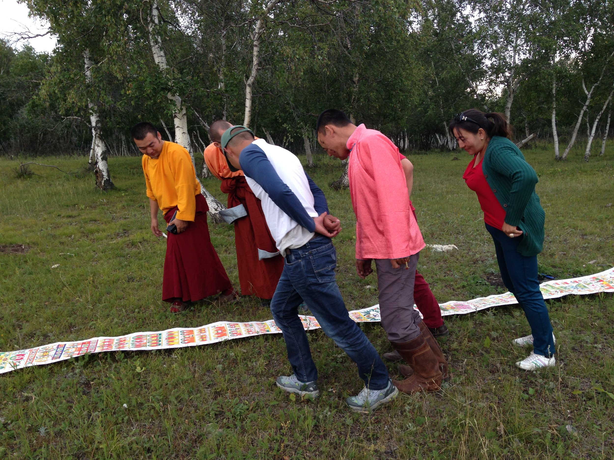 Mongolian Buddhist monks/ artists checking out the Road to Heaven scroll (20160815)