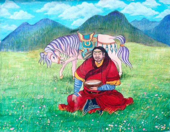 Collaborative drawing with Buddhist monk Sanjaajamts Battseren  @sanjaa06gmailcom