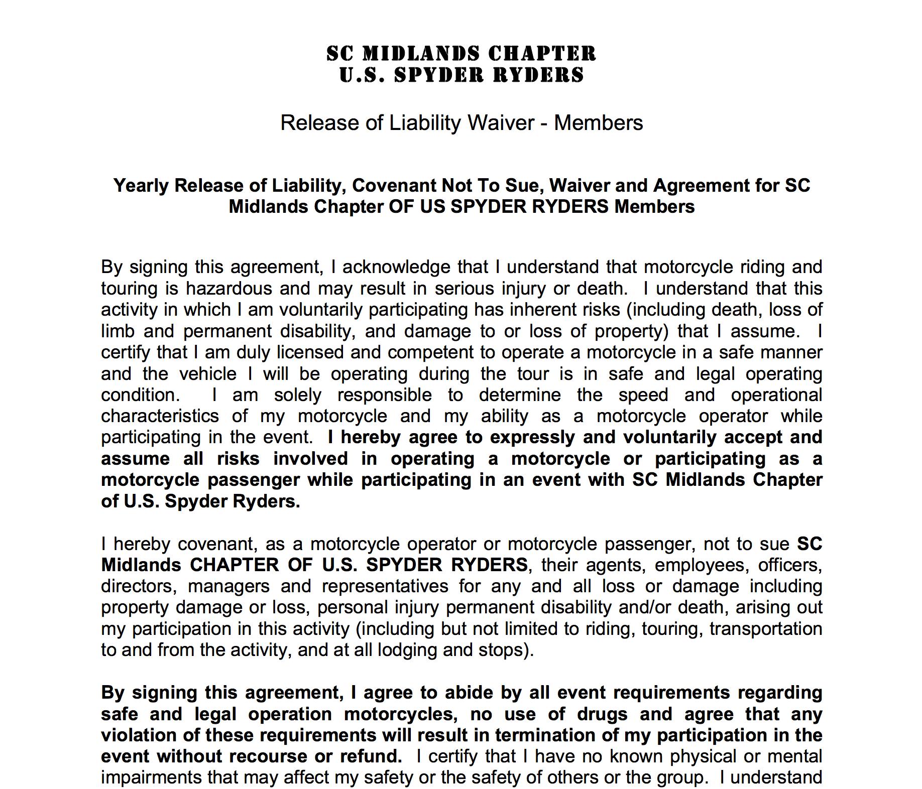 South Carolina Midlands Chapter Liability Waiver - Member