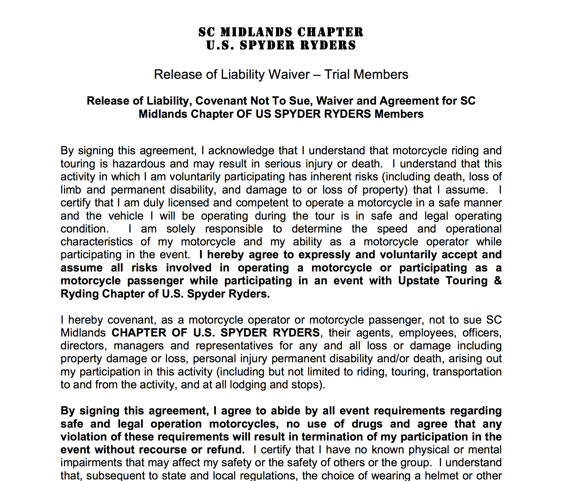 South Carolina Midlands Chapter Liability Waiver - TriaL Member