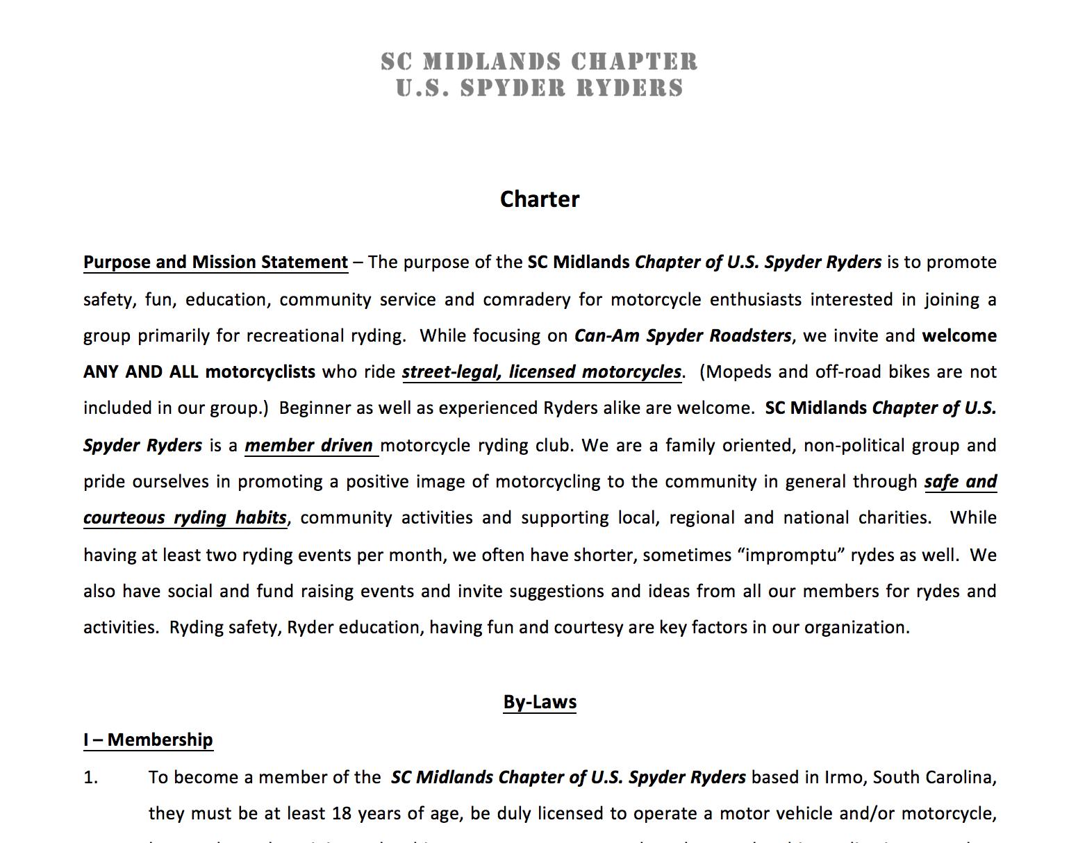 South Carolina Midlands Chapter ByLaws