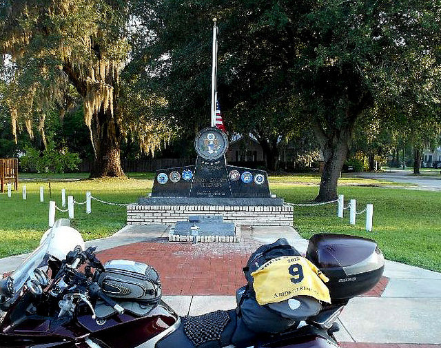 FL2 - Union County Veterans Memorial  Lake Butler, Florida 325 W. Main St. GPS: 30.02315, -82.34087 Access: 24/7, unrestricted. Parking is available directly in front of the memorial, traffic permitting. Close ADA access is available via sidewalk from adjacent NW 3rd Ave.  Take a photo similar to the one above, along with rider flag and motorcycle. Refer to RULES 5-7 ( http://www.tourofhonor.com/pages/rules.html#rules57 ) for photo verification. Scorers have final say whether standards are met. More....  Emblazoned with emblems of the different branches of the military, this monument stands above a stone with the names of local veterans who lost their lives in WWI, WWII, Korea, Lebanon, Vietnam, and Panama (23 U.S. casualties in Panama, according to Wikipedia).  Made in America: Lake Butler was birthplace of Jay North (Dennis the Menace)
