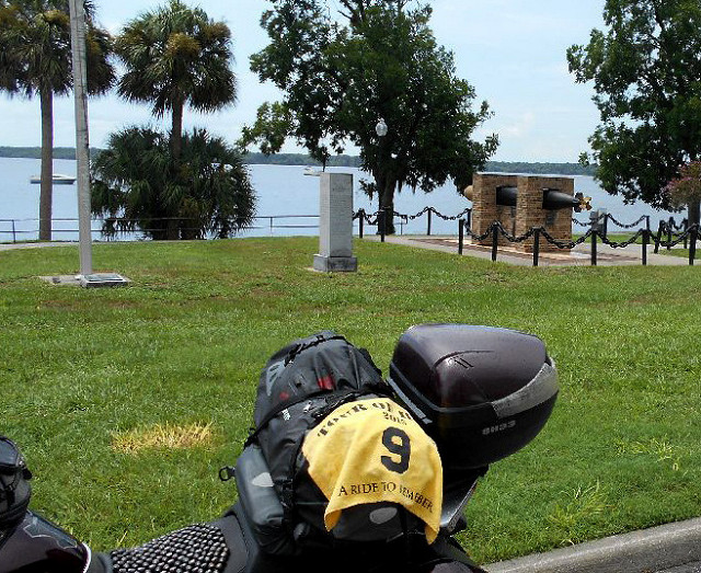"""FL3 - USS Tang Memorial  Palatka, Florida 100 Memorial Parkway GPS: 29.64535, -81.62933 Access: 24/7, unrestricted. Nearby parking is available along lightly travelled Memorial Parkway. For ADA access, park along St Johns Ave to the north, then via sidewalk and paved path to the memorial, although it could be a distance.  Take a photo similar to the one above, along with rider flag and motorcycle. Refer to RULES 5-7 ( http://www.tourofhonor.com/pages/rules.html#rules57 ) for photo verification. Scorers have final say whether standards are met. More....  The USS Tang Balao class submarine entered service in 1943 and sank in the Formosa Strait in 1944, a victim of her own malfunctioning torpedo. In that brief time, however, she sank 31 enemy vessels, earning two Presidential Unit Citations and four battle stars. Commander Richard H. O'Kane, washed off the bridge as the ship sank, lost all but eight members of his 89 man crew. Following his release from a Japanese POW camp, O'Kane received the Medal of Honor for """"conspicuous gallantry and intrepidity"""" during his submarine's final operations against Japanese shipping.  Made in America: There are four E. M. Vequesney Doughboy statues flanking the adjacent US 17 bridge over the St Johns River. Two of those are one-of-a-kind variants, and the Smithsonian lists Gutzon Borglum (Mt Rushmore) as co-artist of the 'parade rest' doughboy at the southeast corner of the bridge."""