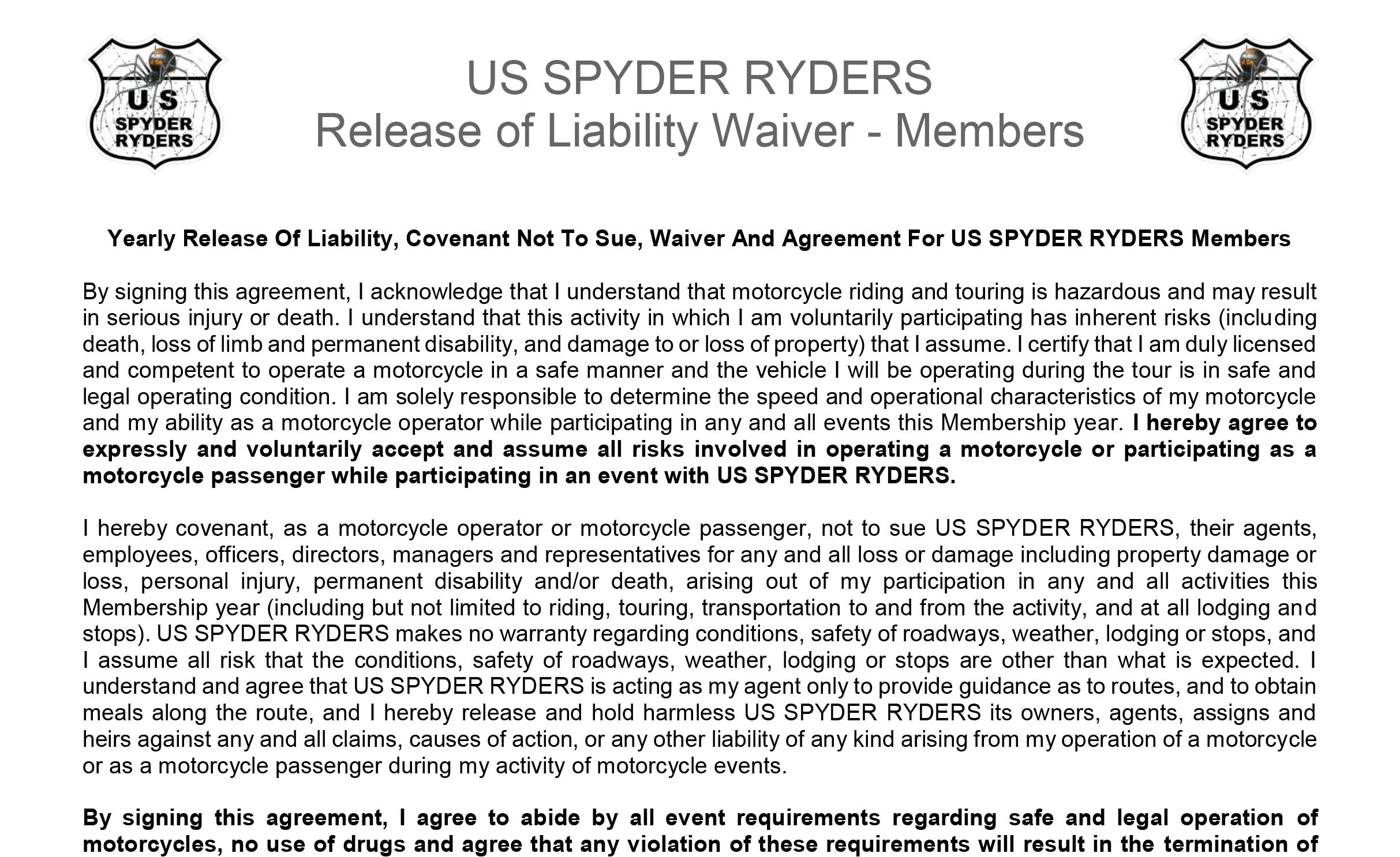 South Florida Chapter Liability Waiver - Member