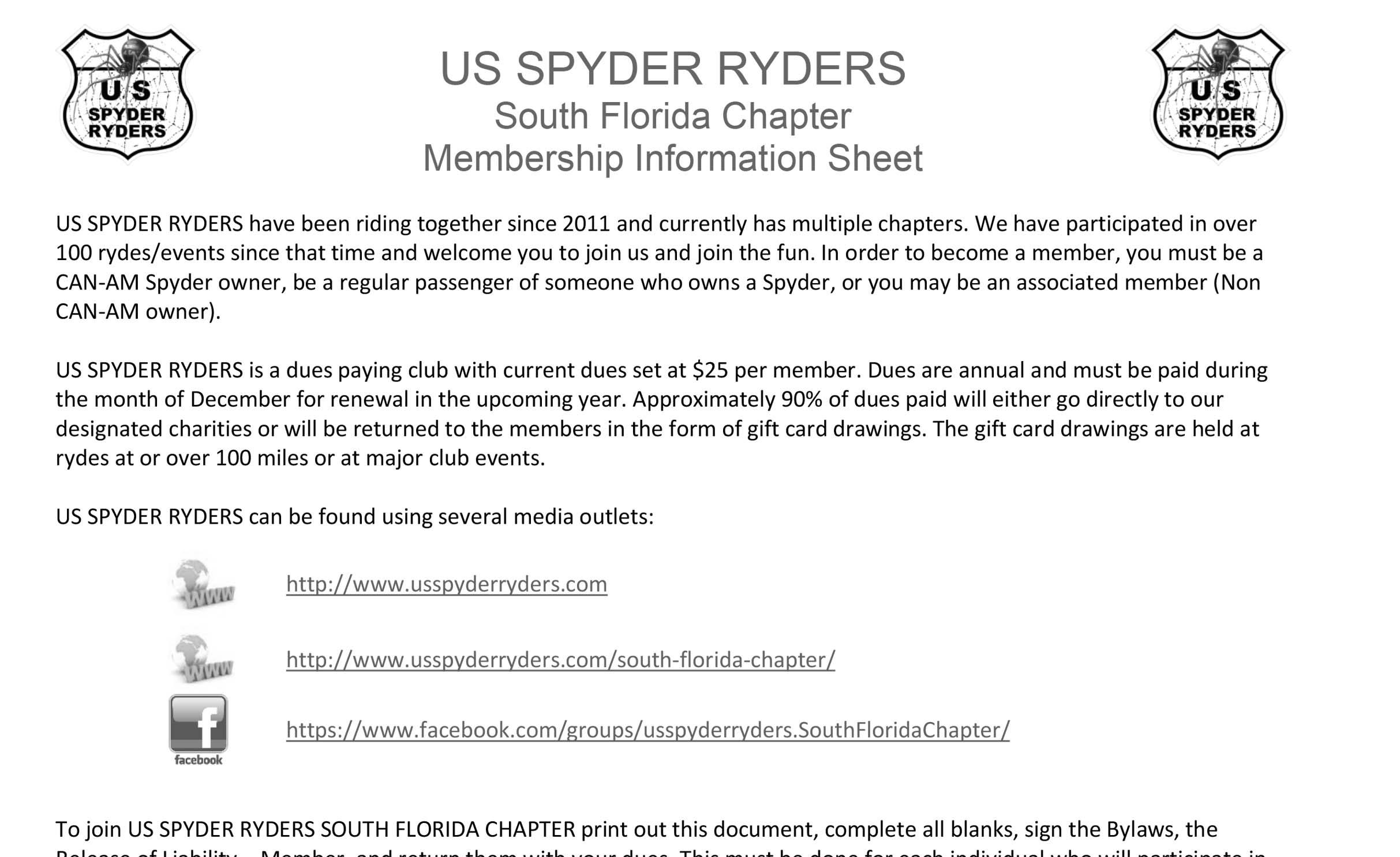 South Florida Chapter Membership Information