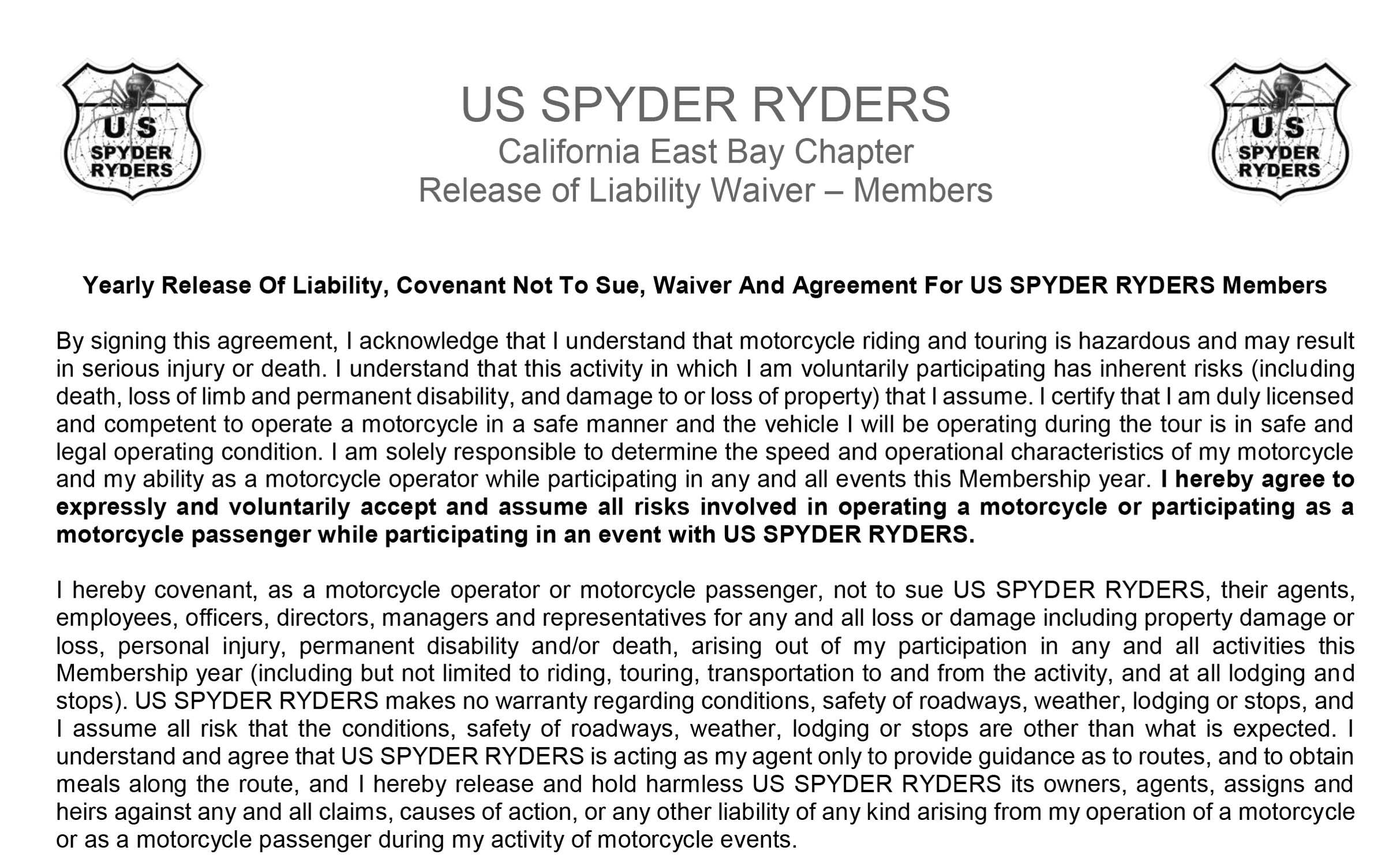 Release Of Liability - Member
