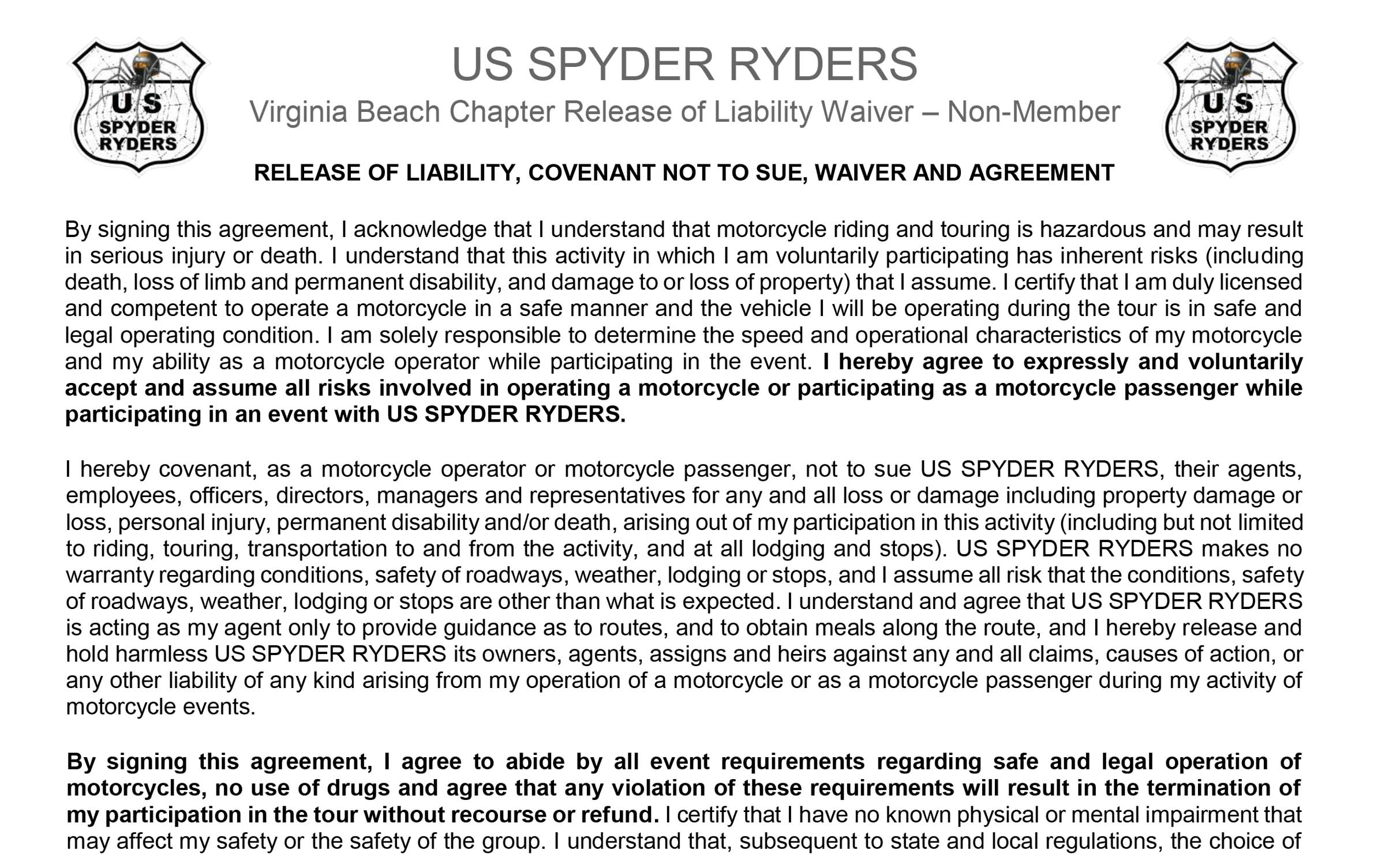 Release Of Liability - NonMember