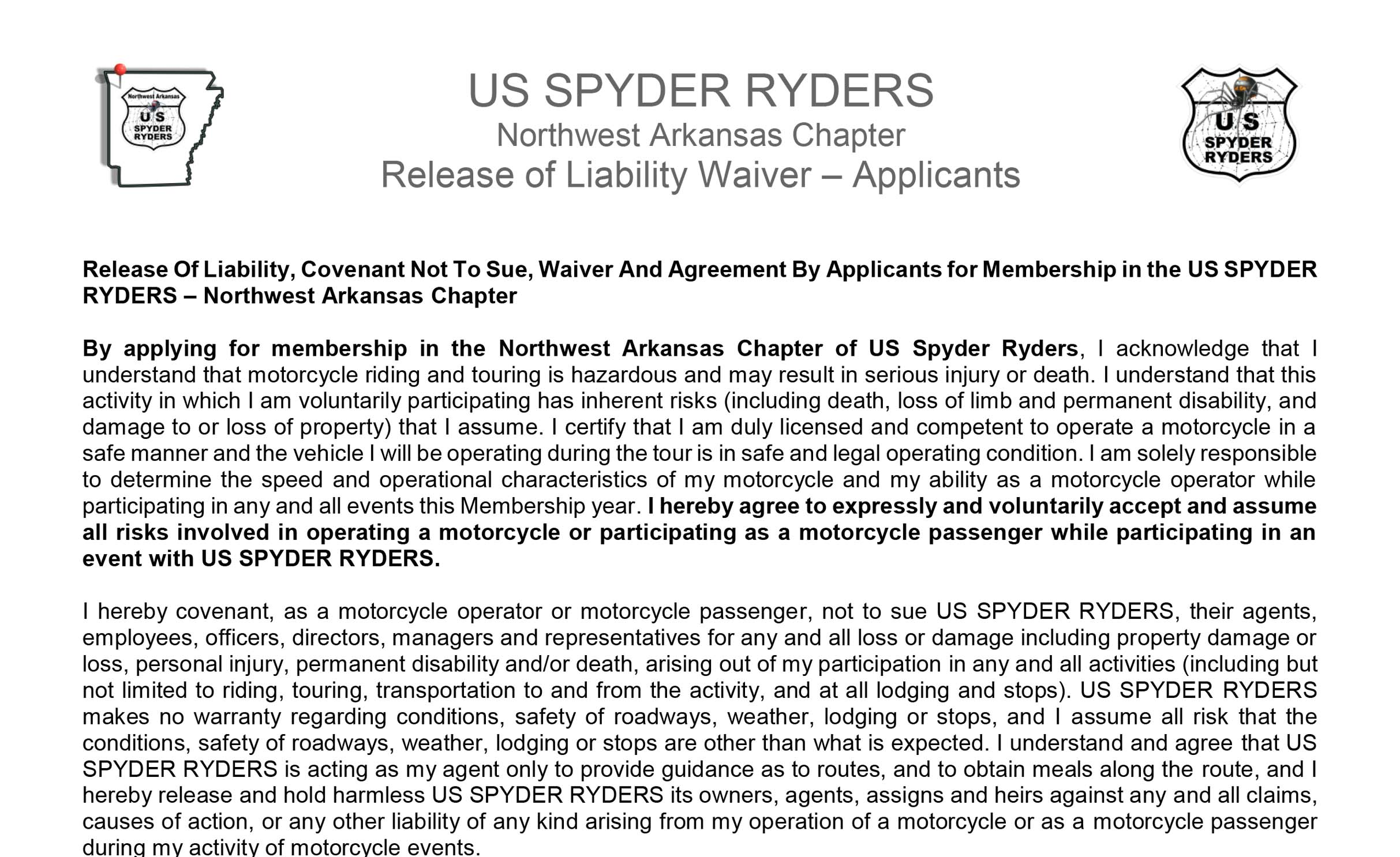 Release Of Liability - Applicant