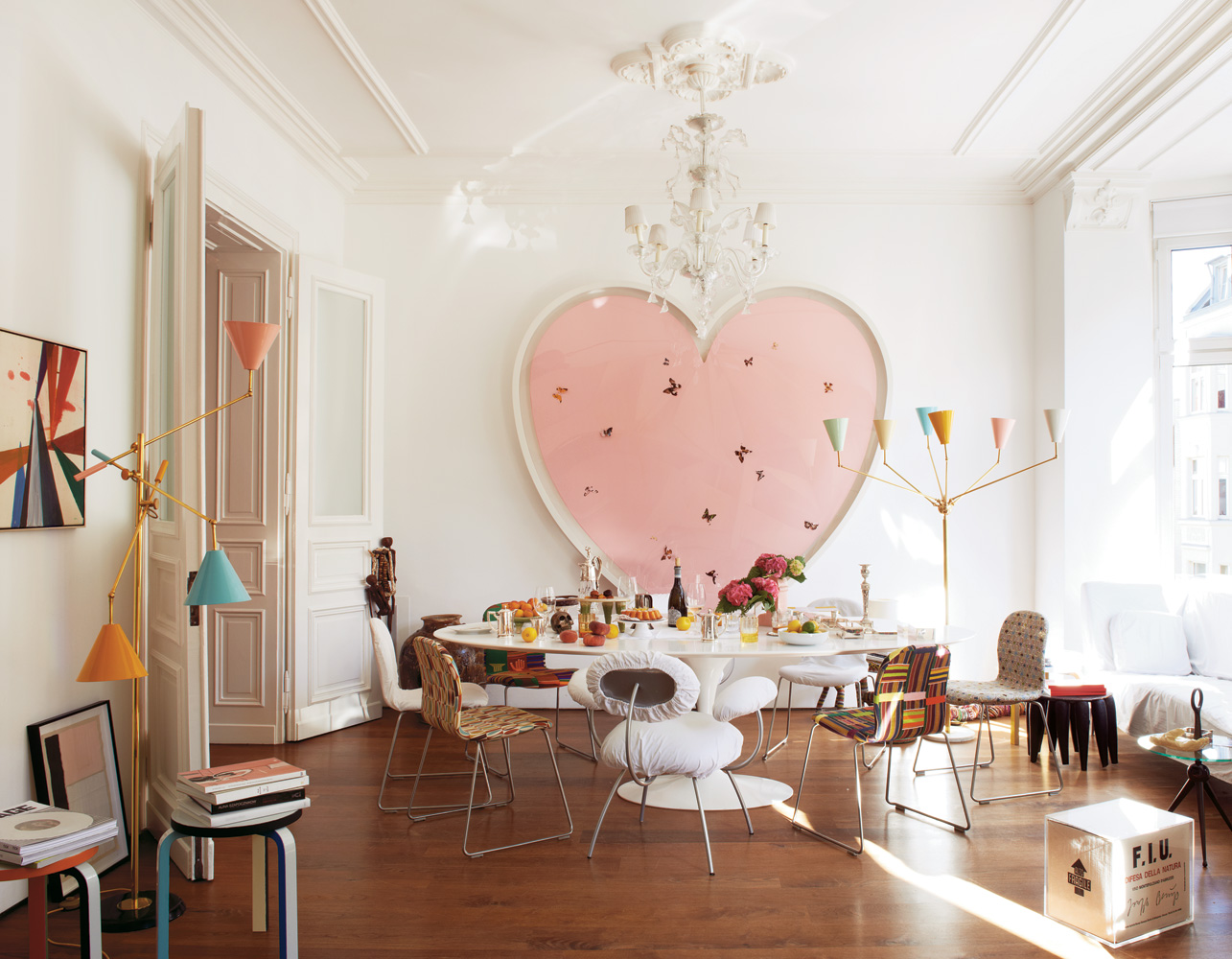 Mike Meire and Michelle Ellie's home via NY Times (can someone please buy me the heart shape Damien Hirst painting???)
