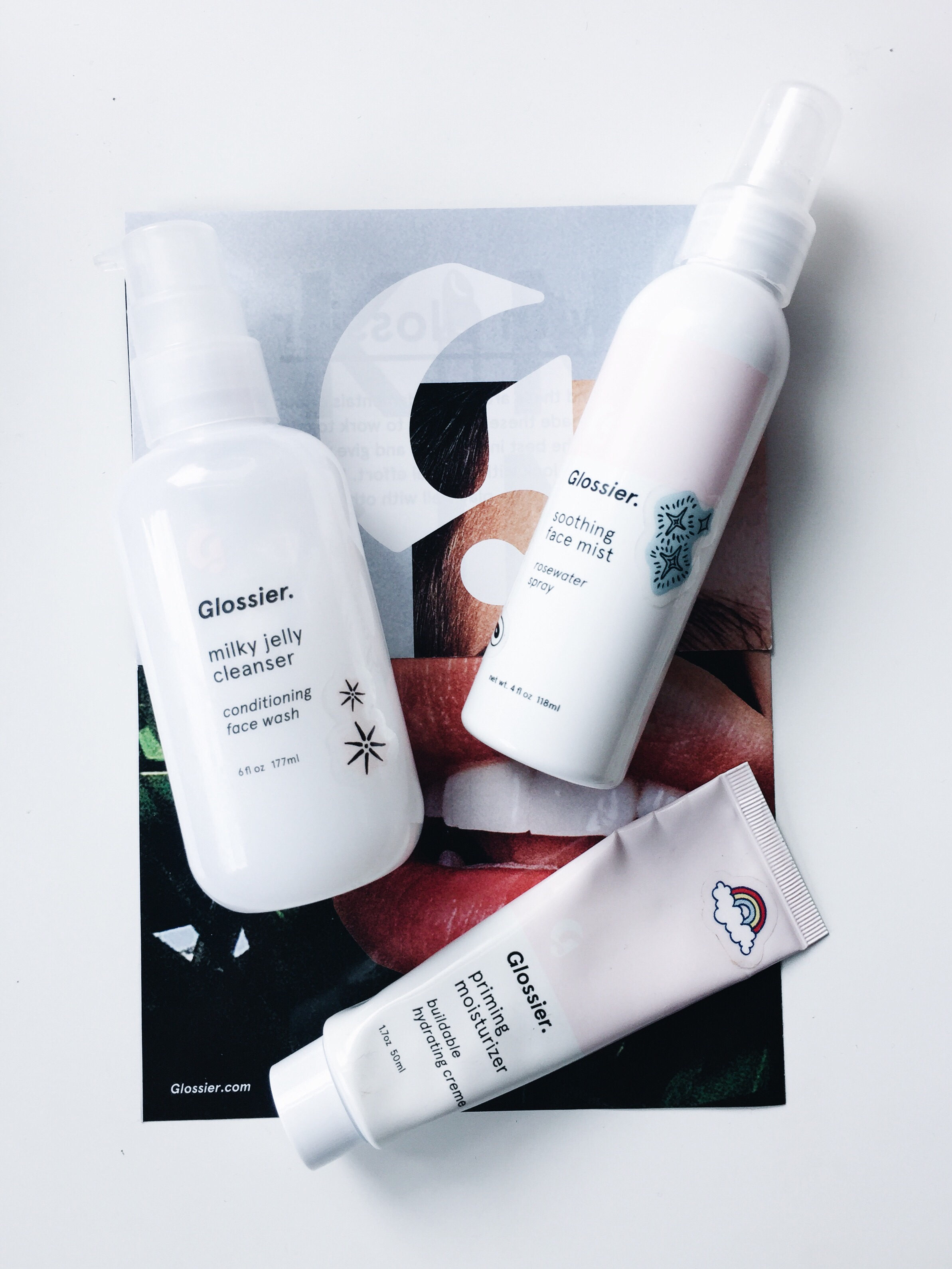 Glossier Milky Jelly Cleanser, Priming Moisturizer, Soothing Face Spray