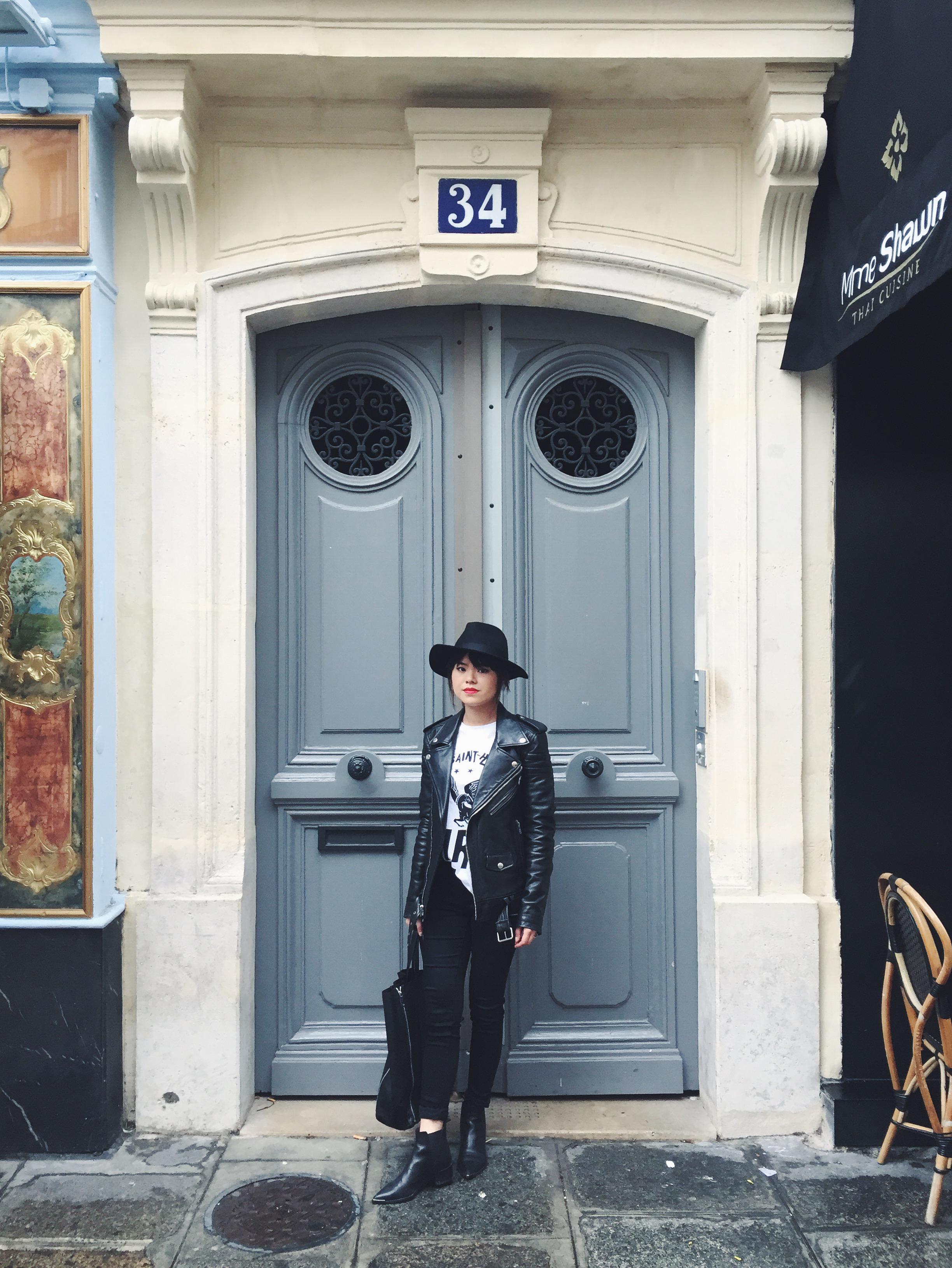 Wearing Lack of Colour hat, BLK DNM jacket, Etre Cecile t-shirt, Uniqlo jeans, Celine Cabas bag, Acne Jensen boots