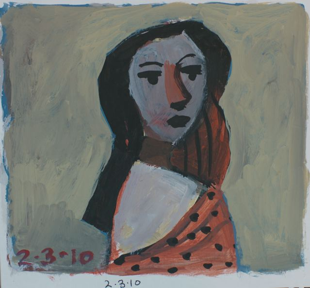 Girl with spotted shawl