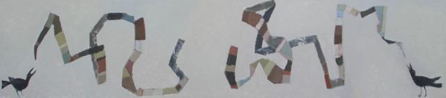 """Crow Talk I, 22'x 94"""", Oil on Board, 2017"""