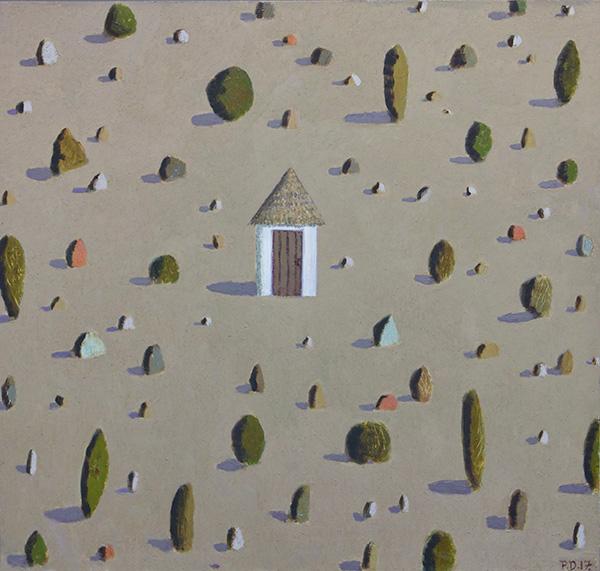 "Habitation, 35"" x 37"", Oil on canvas, 2017"