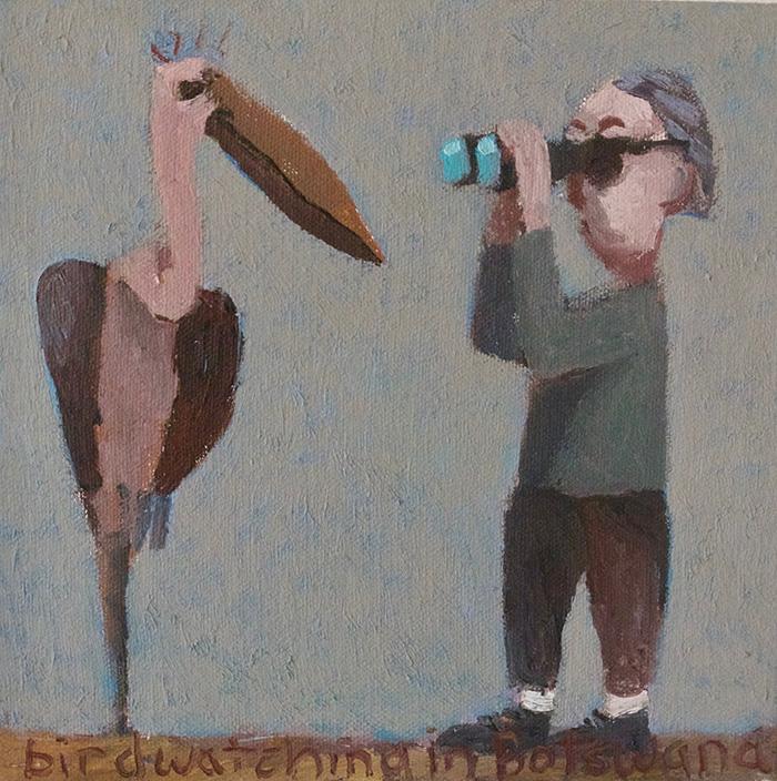 "Birdwatching in Botswana, Oil on canvas 2019, 8"" x 8"""