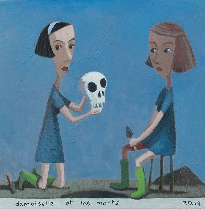 """Damoiselle et les morts. Oil on canvas 2019, 20"""" x 20"""""""