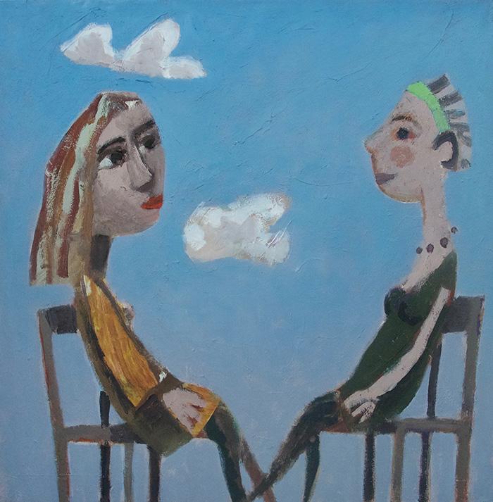 "Girls talk. Oil on canvas 2019, 20"" x 20"""