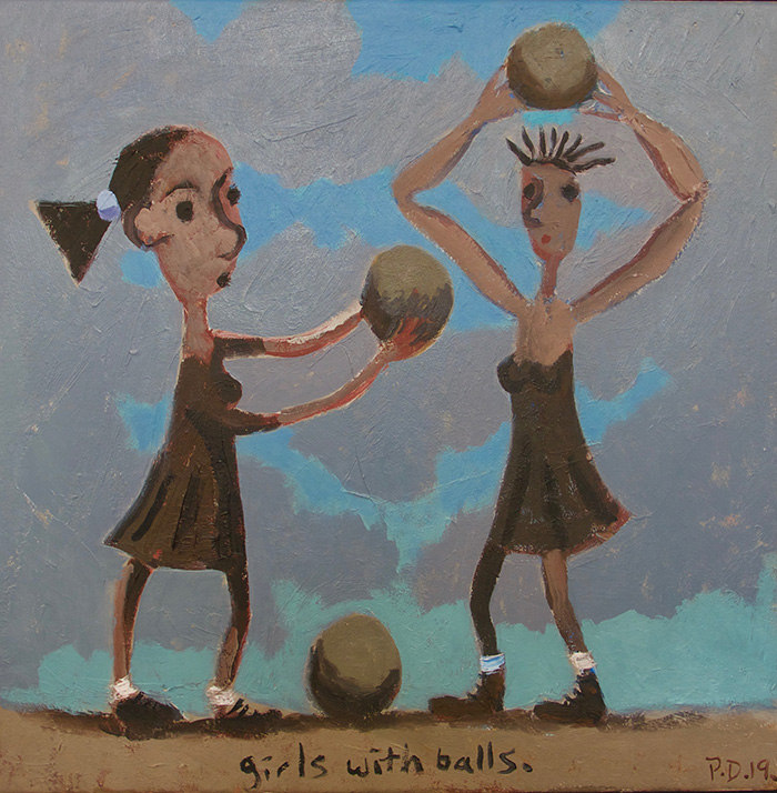 """Girls with balls. Oil on canvas 2019, 20"""" x 20"""""""