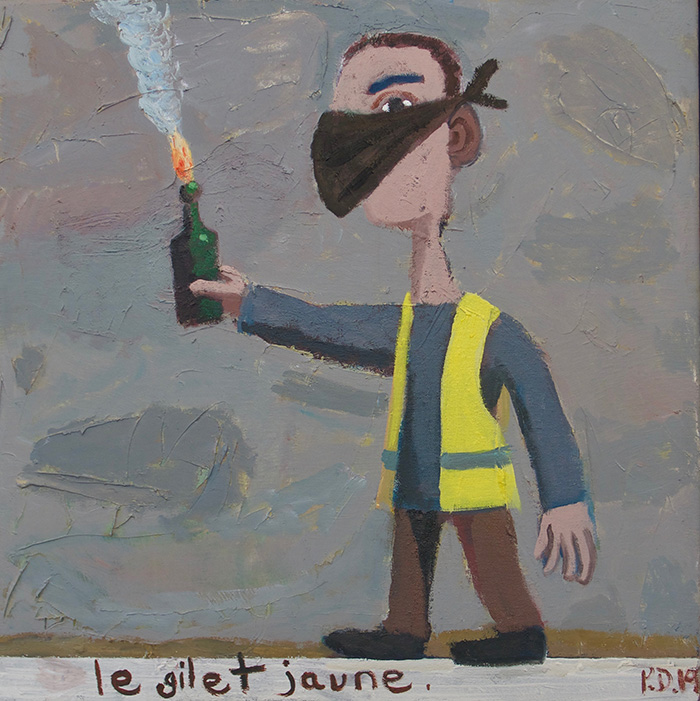 "Le gilet Jaune. Oil on canvas 2019, 20"" x 20"""