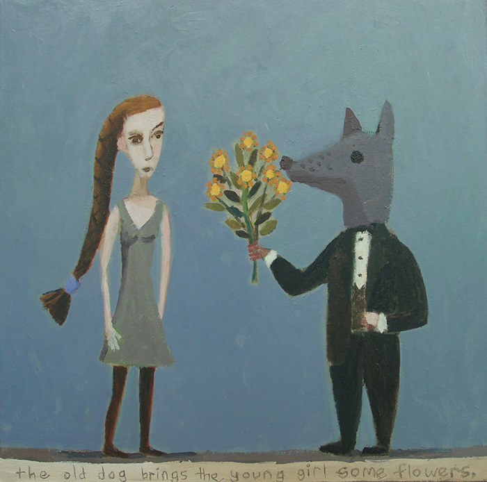 """The old dog brings the girl some flowers. Oil on canvas 2019, 20"""" x 20"""""""