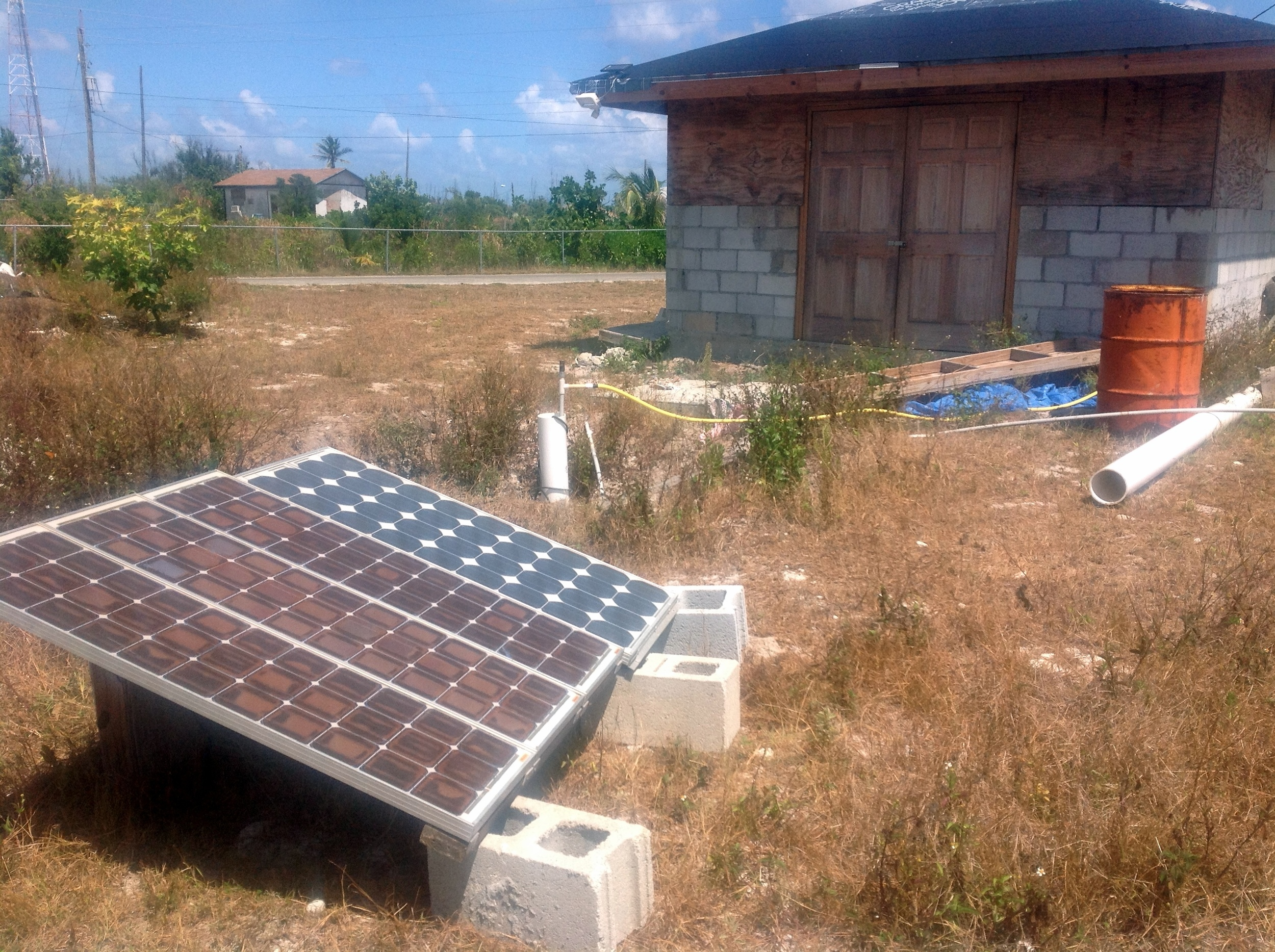 Solar panels power the water filtration system