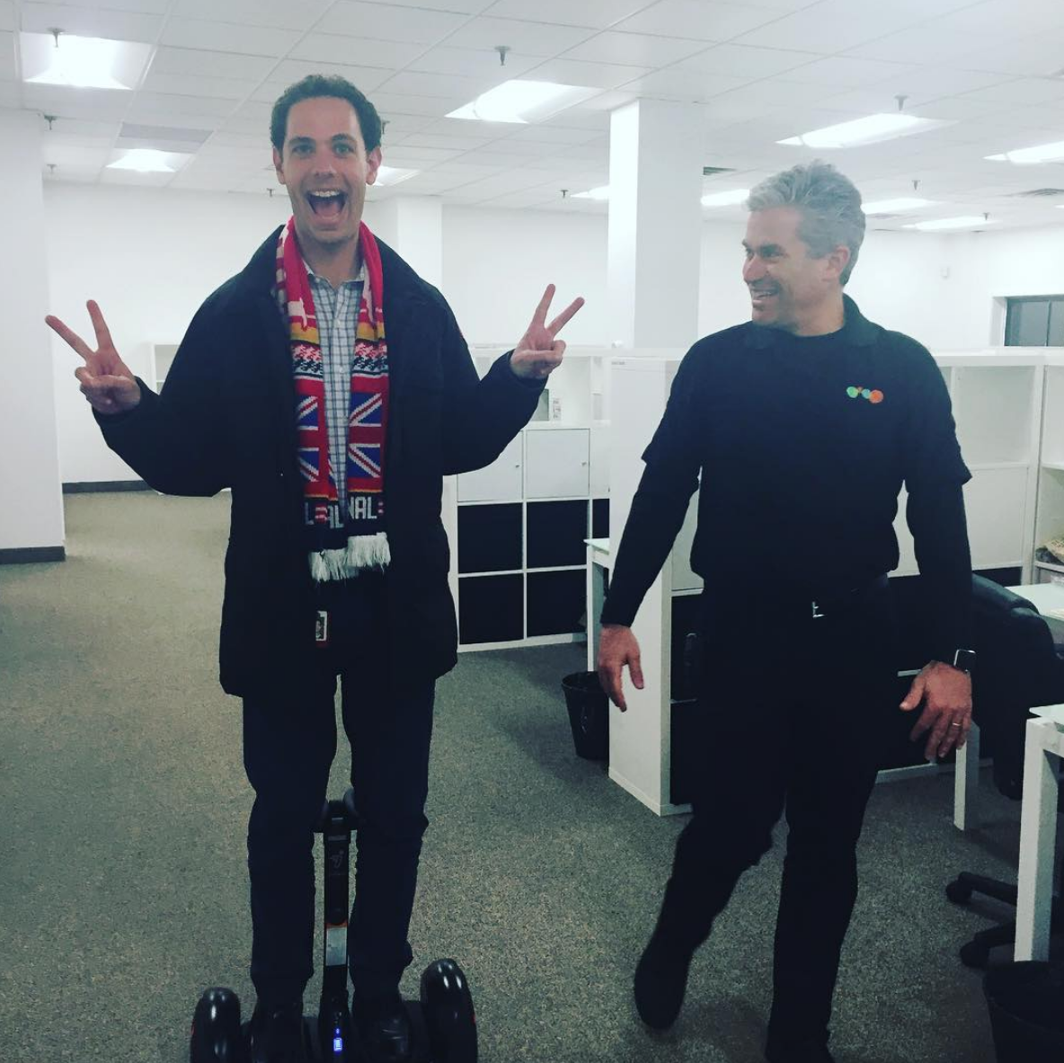 Dr. Michael Goldberg (left) and Joseph Kahn (right) testing out a Segway at the LINX Camps office after a Board meeting in 2016