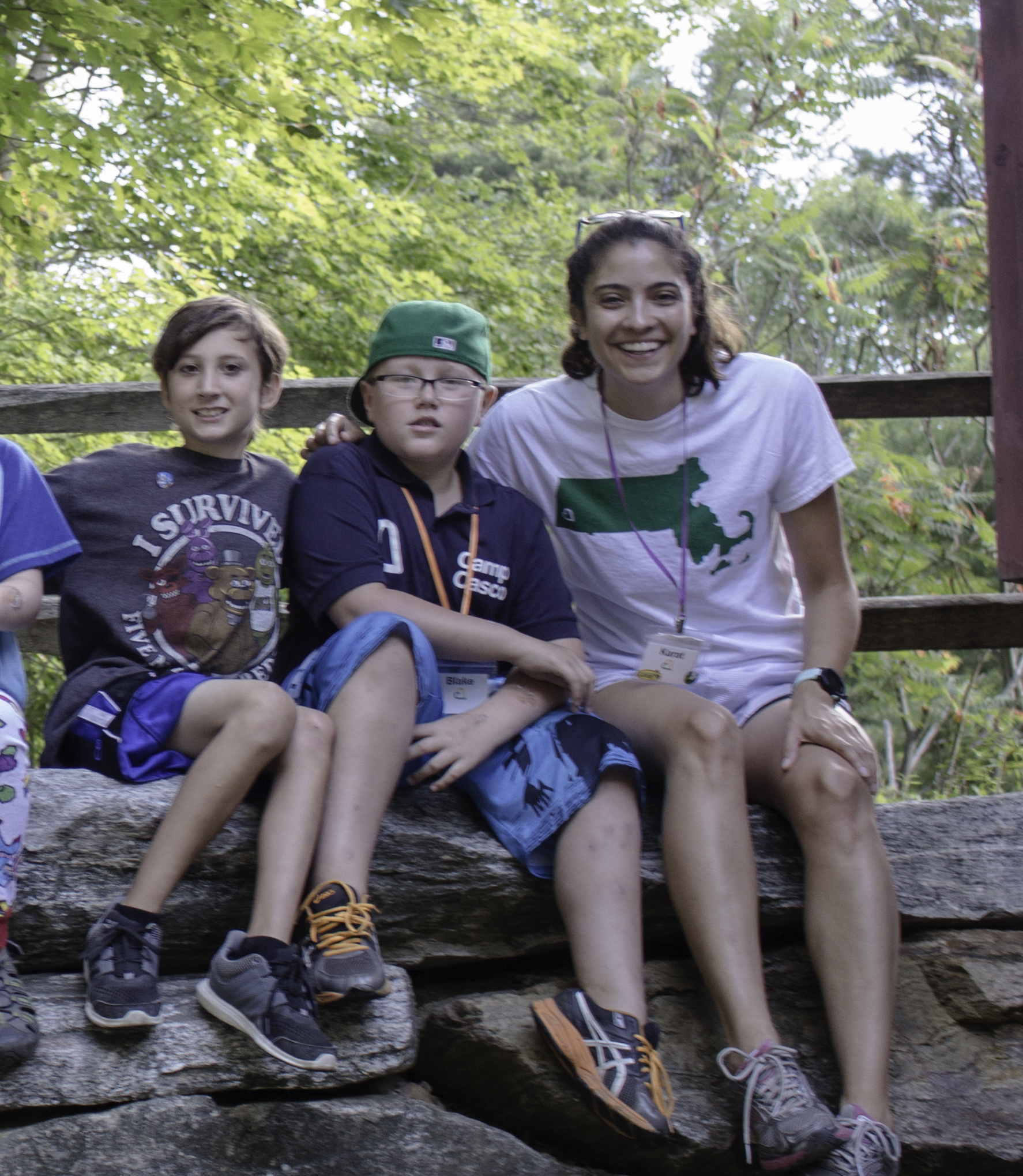 """Whitney """"Karat"""" Silkworth with campers at Camp Casco 2016"""