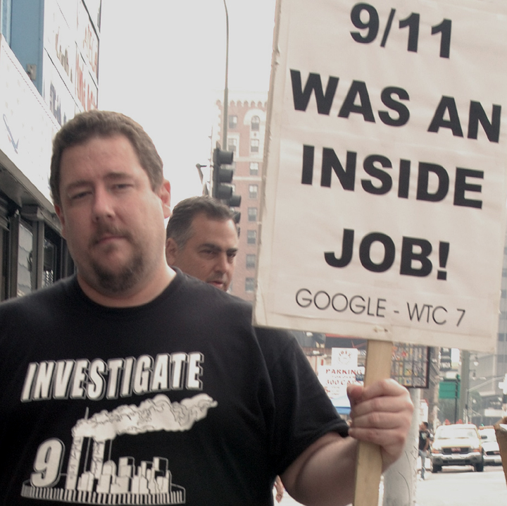 9/11 Truth Movement demonstrator, Los Angeles. •  Wikimedia Commons