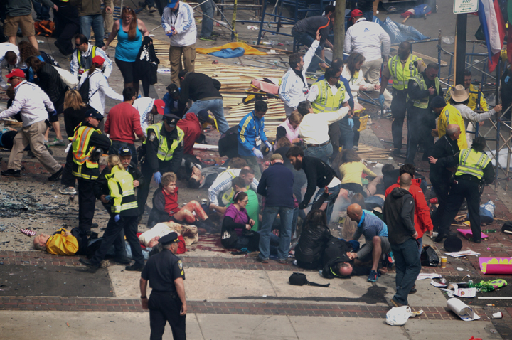 "Boston Marathon explosions. Photo by Aaron ""tango"" Tang •  Wikimedia"