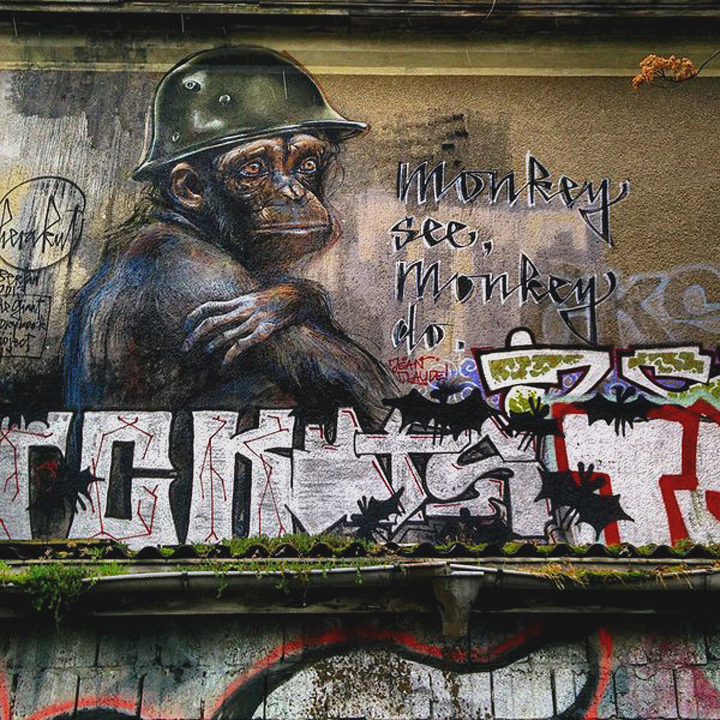 Monkey See, Monkey Do, by Herakut. Graffiti in Berlin. Johan Jönsson (Julle) •  Wikimedia Commons