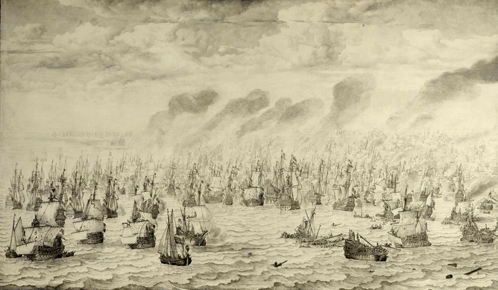 The Battle of Terheide, 10 August 1653: episode from the First Anglo-Dutch War (1652-54)  .   Art by Willem van de Velde the Elder •  Wikimedia Commons