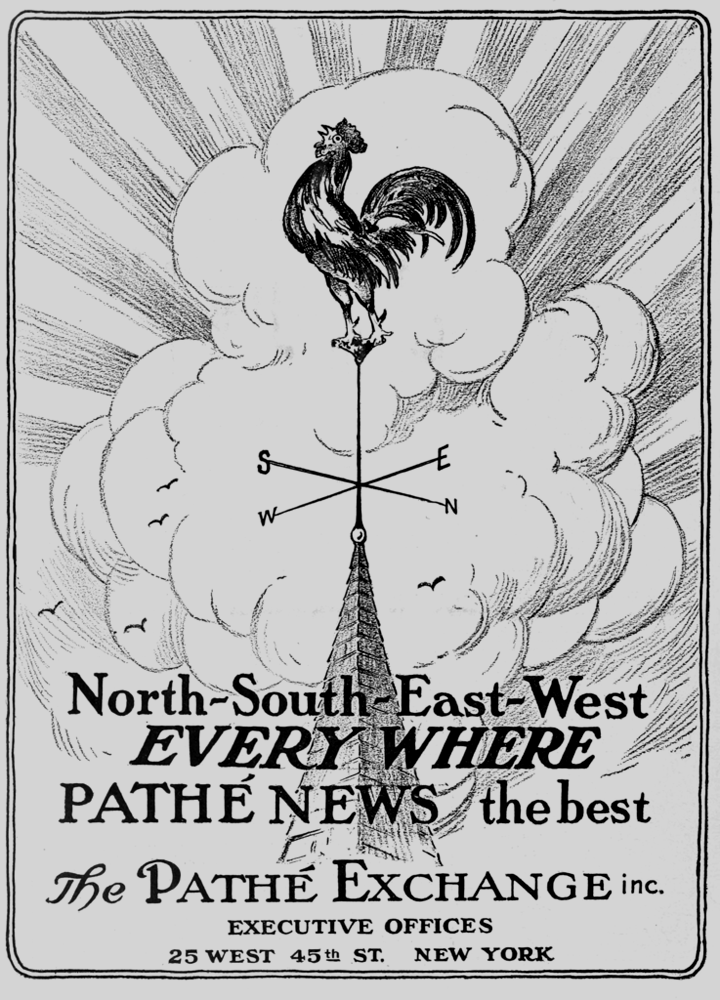 Advertisement for Pathé newsreels, 1915  • Wikimedia Commons