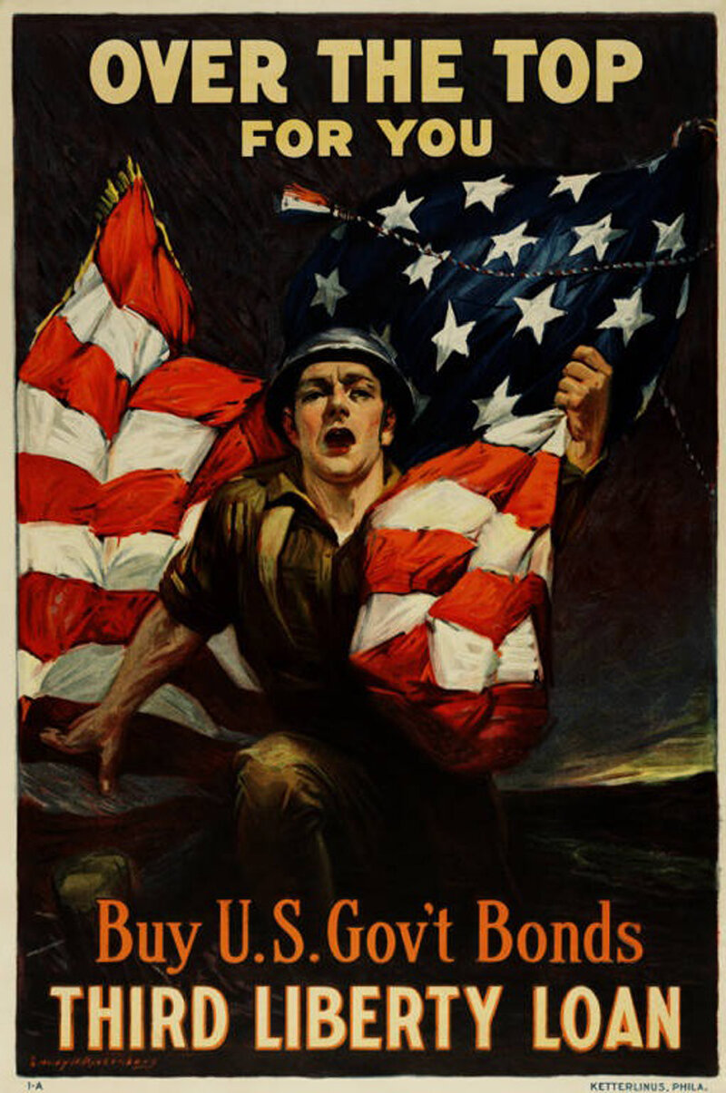 """Over the top for you - Buy U.S. gov't bonds, Third Liberty Loan"", Poster showing a soldier clutching an American flag. •  Wikimedia Commons"