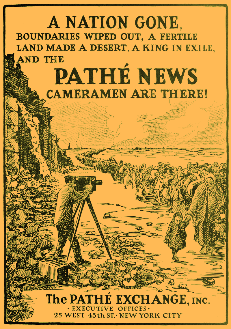 1915 Advertisement for Pathé newsreels covering the events of the First World War. •  Wikimedia Commons