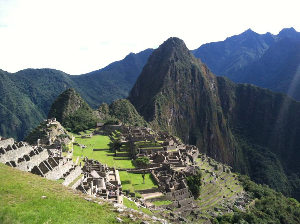 Machu Picchu (left and center) and Huayna Picchu (mountain in the background)
