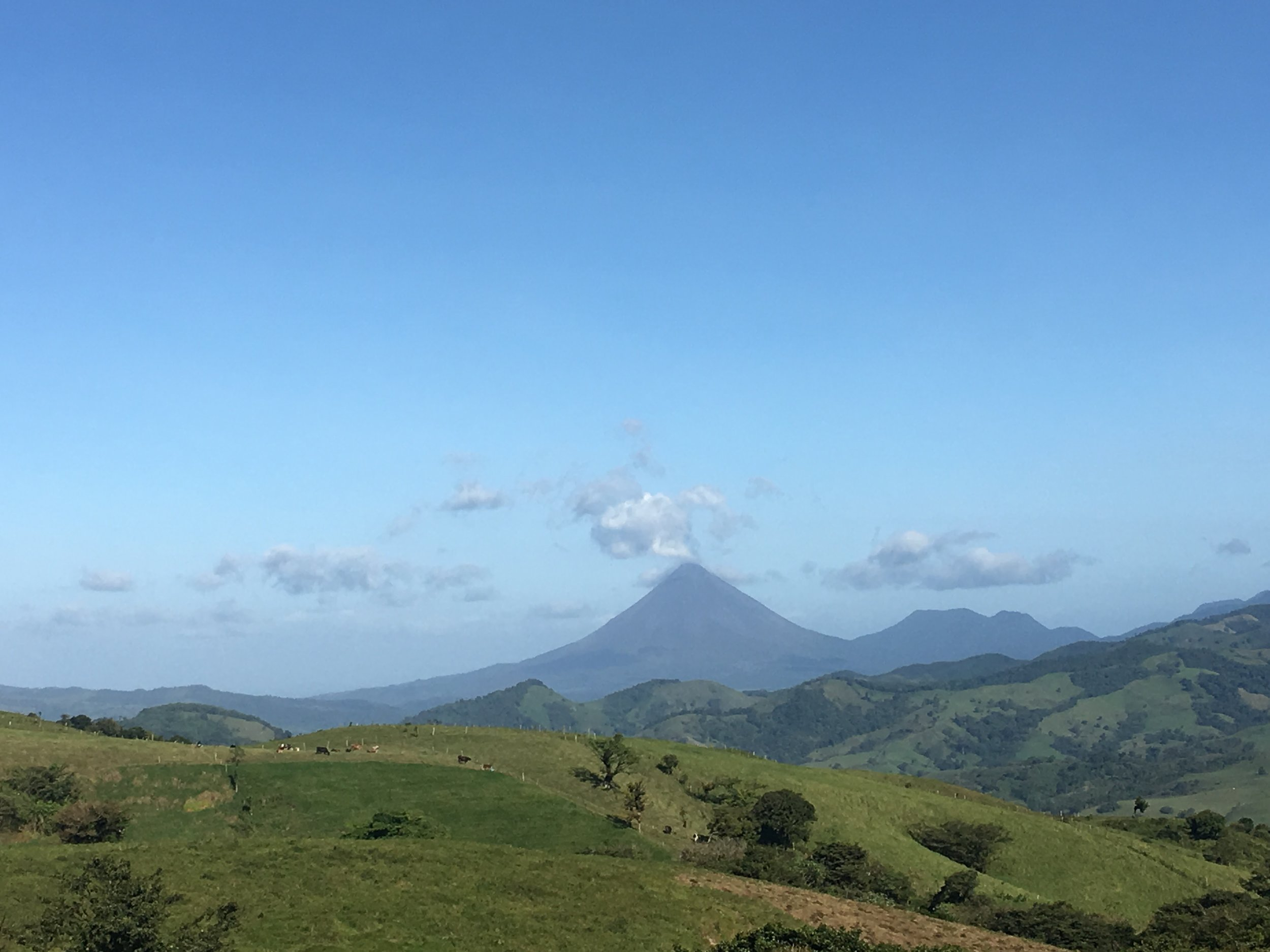 Arenal (left) and Cerro Chato (right) in the background