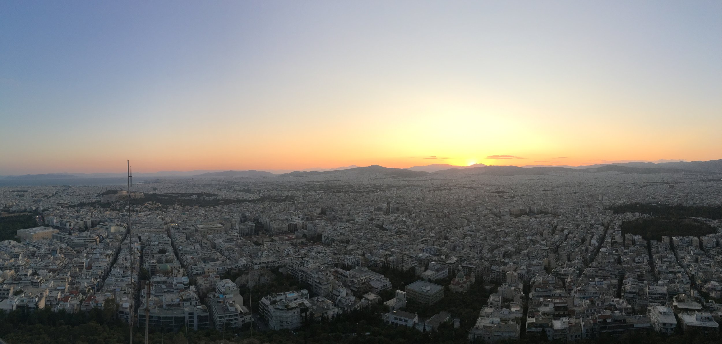 Sunset view from Mount Lycabettus