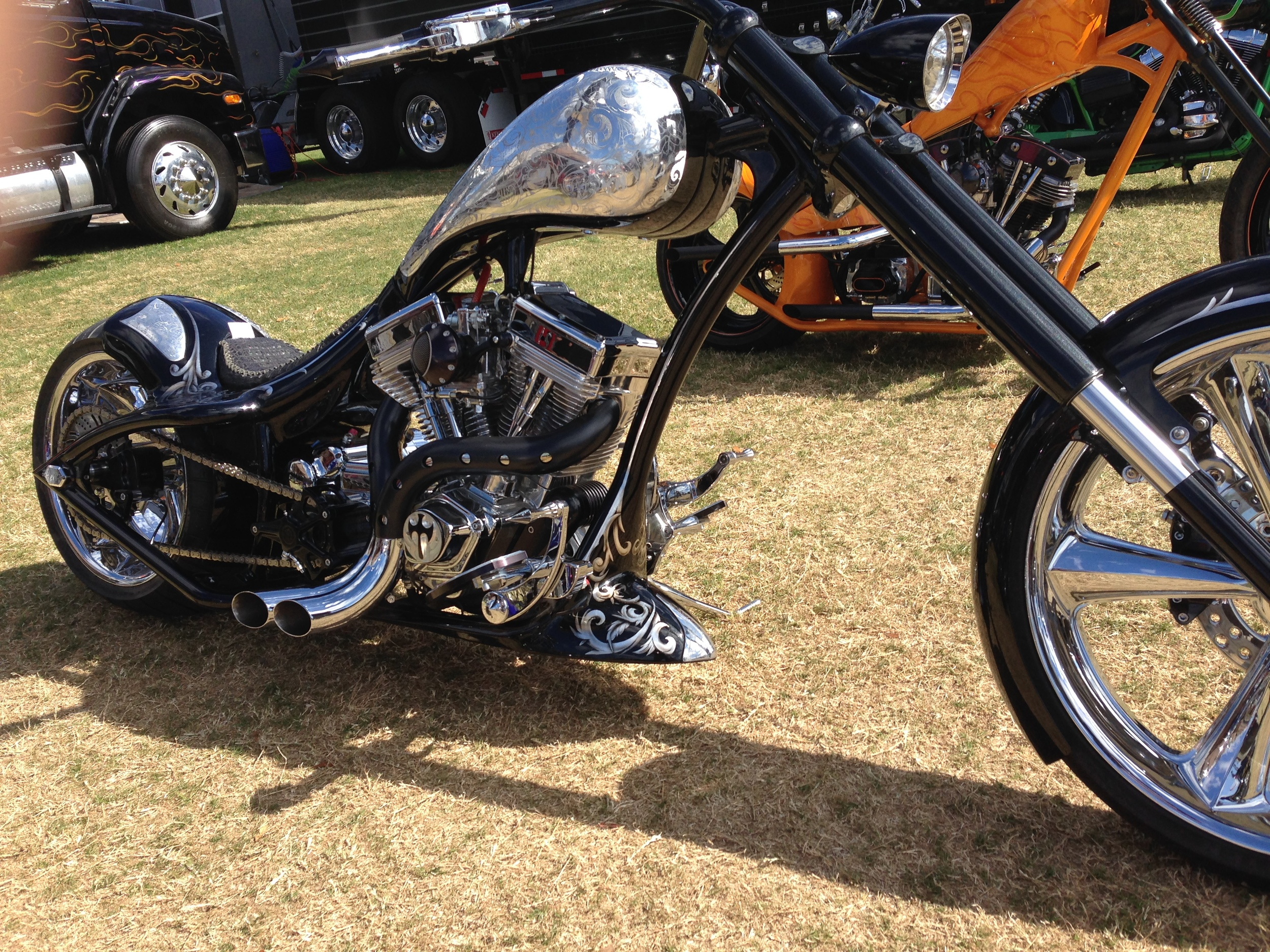 Black Rigid Chopper w/ Polished Etched Gas Tank