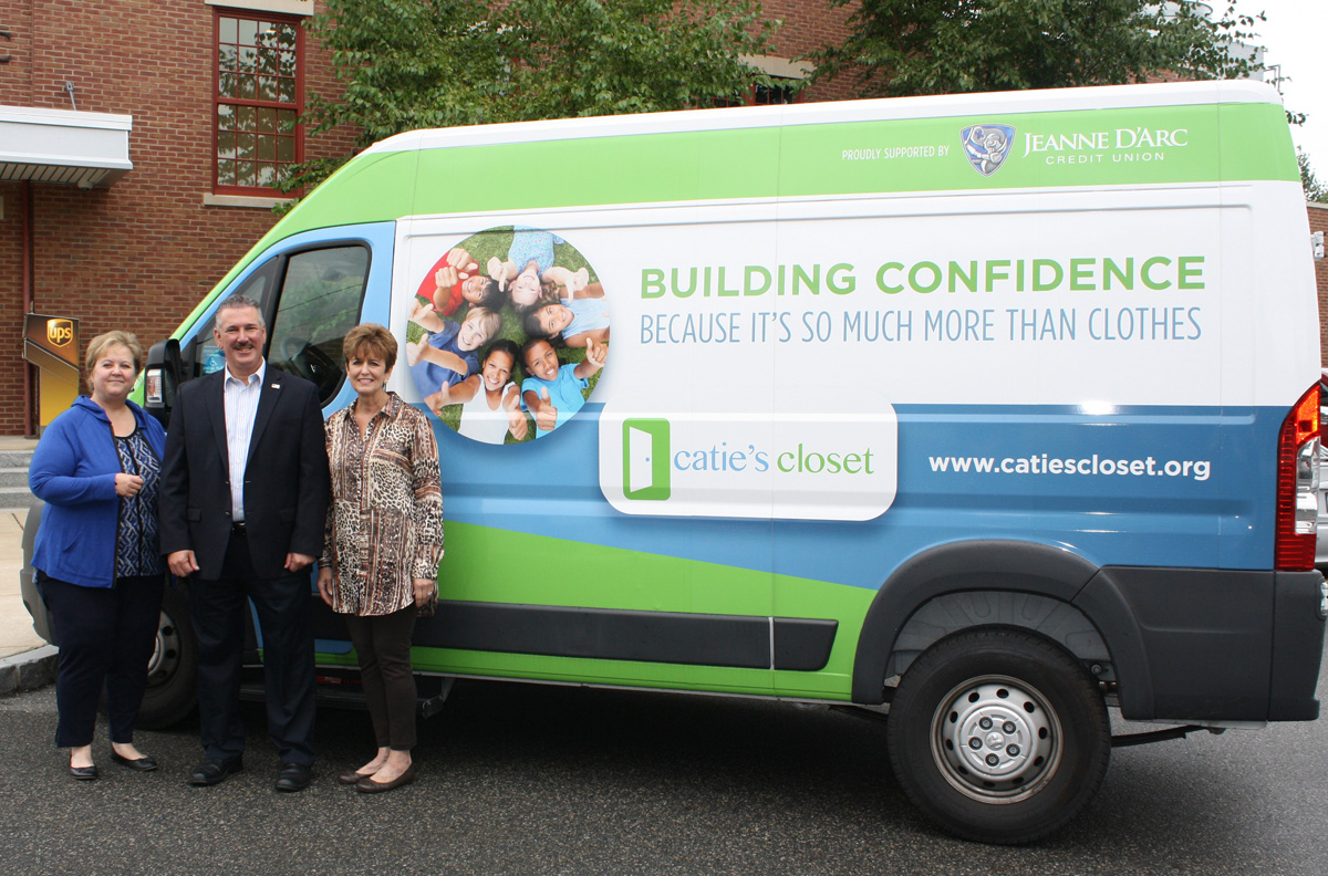 Jeanne D'Arc Credit Union recently sponsored the van wrap for Catie's Closet. The van is is used to deliver clothing and toiletry items to restock closets and to collect donations from drives hosted by Catie's Closet partners.