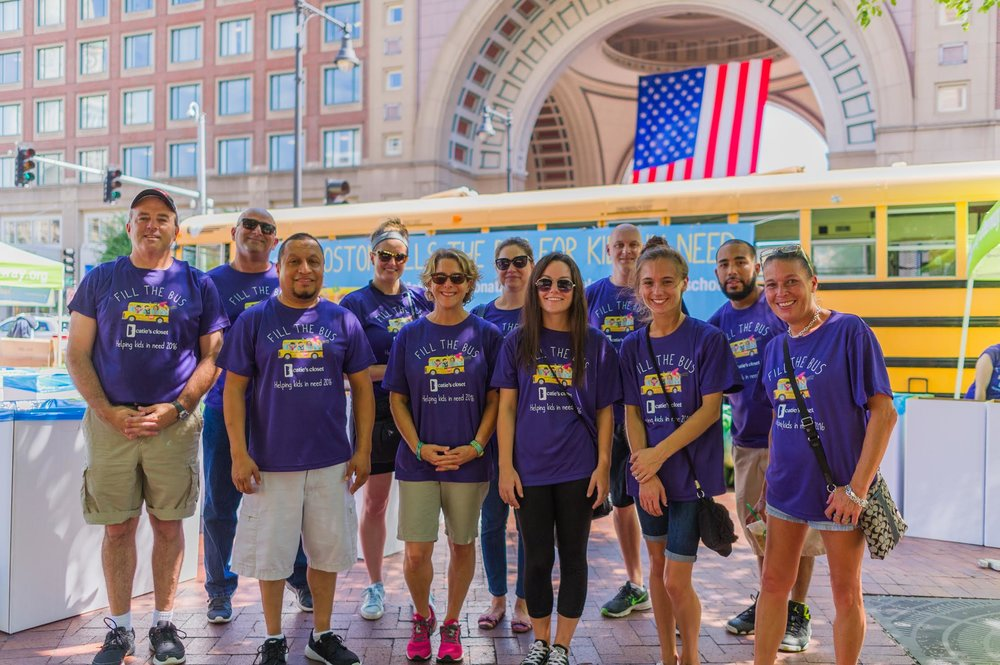 Volunteers from the Charles River Apparel team join us on the Greenway in Boston for our Fill the Bus campaign.