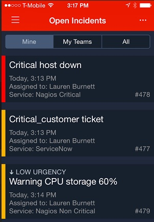 PagerDuty iOS app with high- and low-urgency incidents