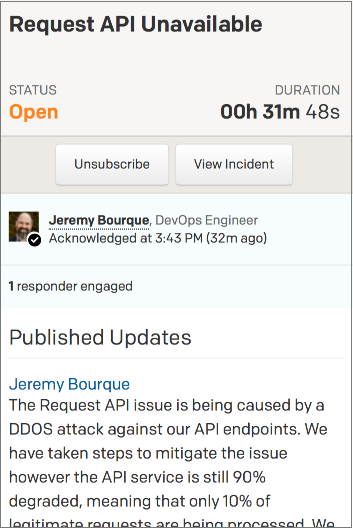 Incident status page with a responsive layout