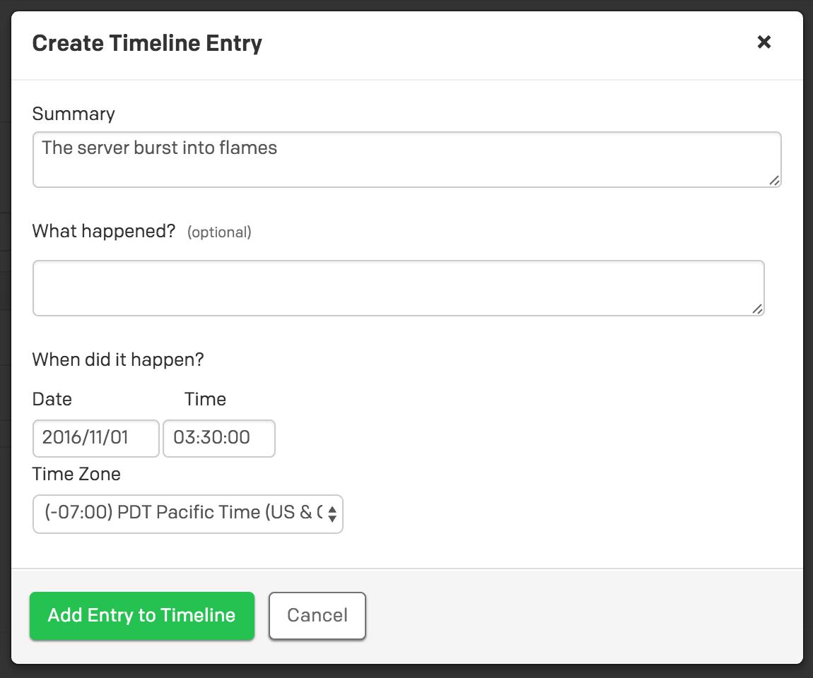Create a custom timeline entry