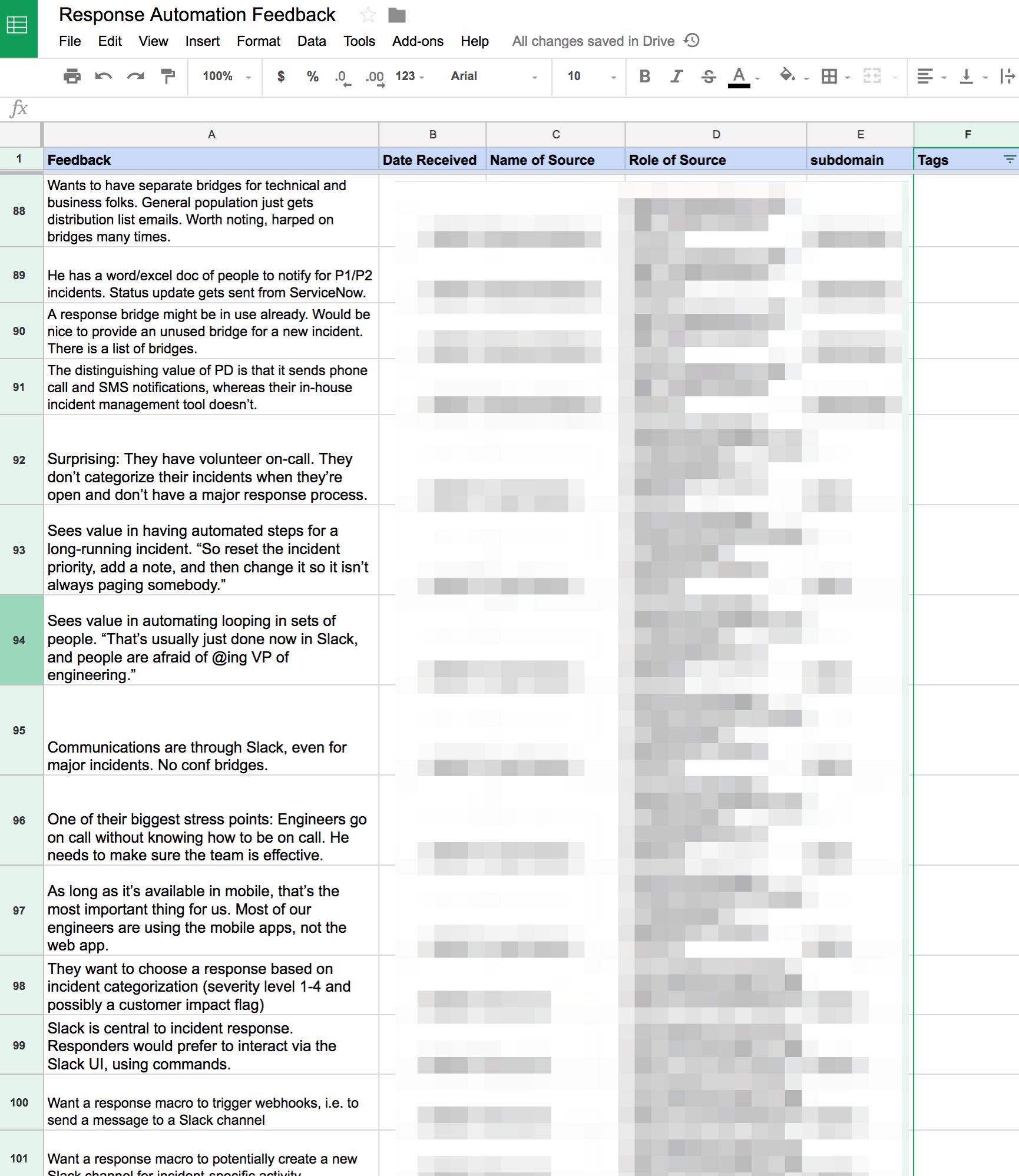 User feedback in a Google Sheet