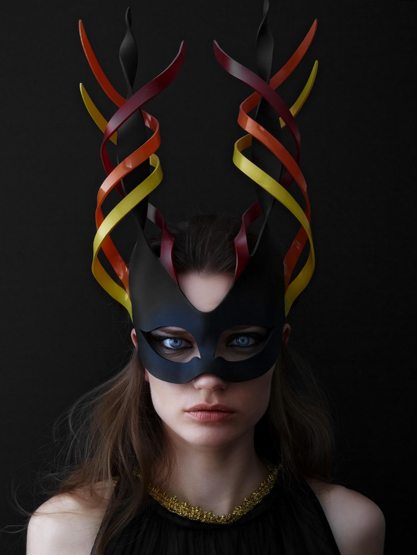 Swirl Twist Long Horns Mask - Red/Orange/Yellow