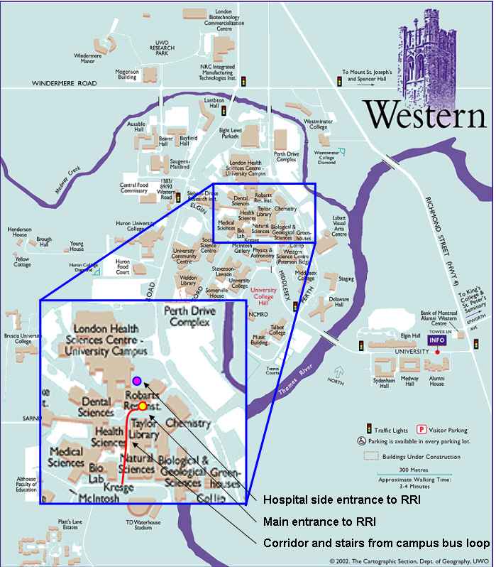 university of western ontario campus map Robarts Directions Culham Lab university of western ontario campus map