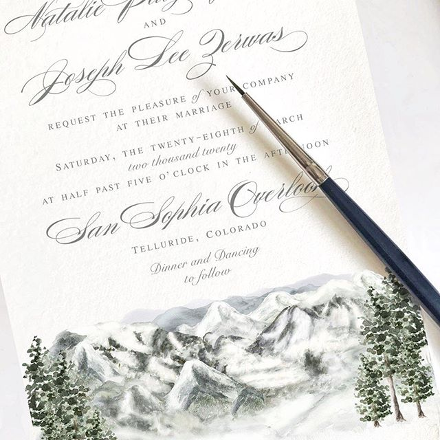Happy Halloween! Because it's 18 degrees outside, I thought it'd be appropriate to share a sneak peek of this snowy invitation design featuring the overlook of Telluride, Colorado's dreamy mountain scene. The bride and groom will take a gondola up to this very spot where they'll say I do!