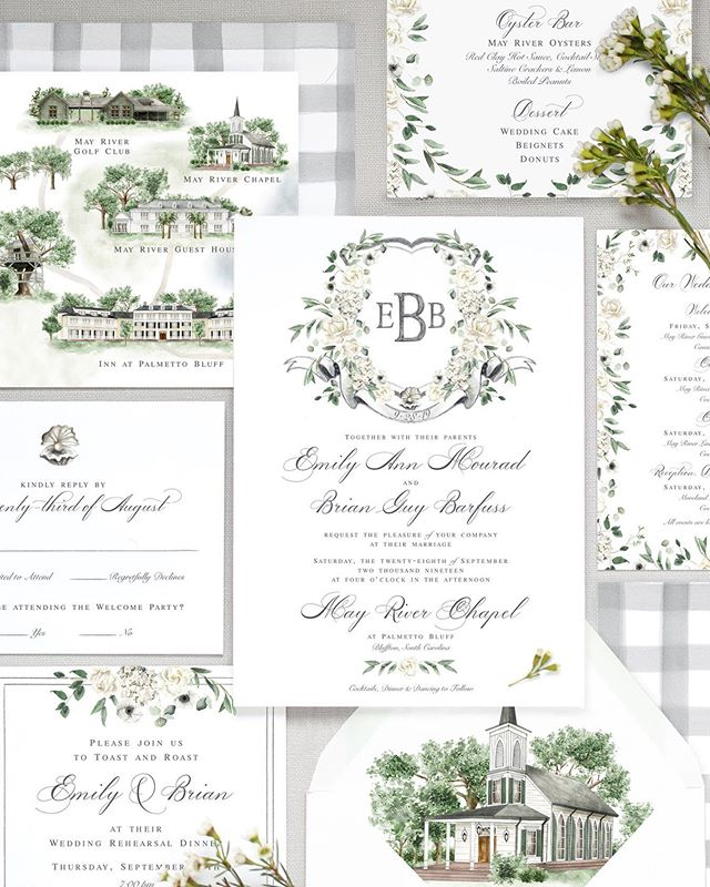 Finally sharing one of my biggest projects of the year that was complete with a wedding map, welcome booklet, programs and menus, napkins, fans, and a full invitation suite. Emily and Brian said I do in Palmetto Bluff in South Carolina, which is a dreamy, low-country southern community chock-full of green golf course, river, live oak trees, salt marshes and sooo much charm. We wanted to bring that down to earth, southern charm through their paper goods and I think their suite did the trick! You'll find oysters, gingham, treehouses, chapels, flowers and a classic monogram. #yankeeandyall