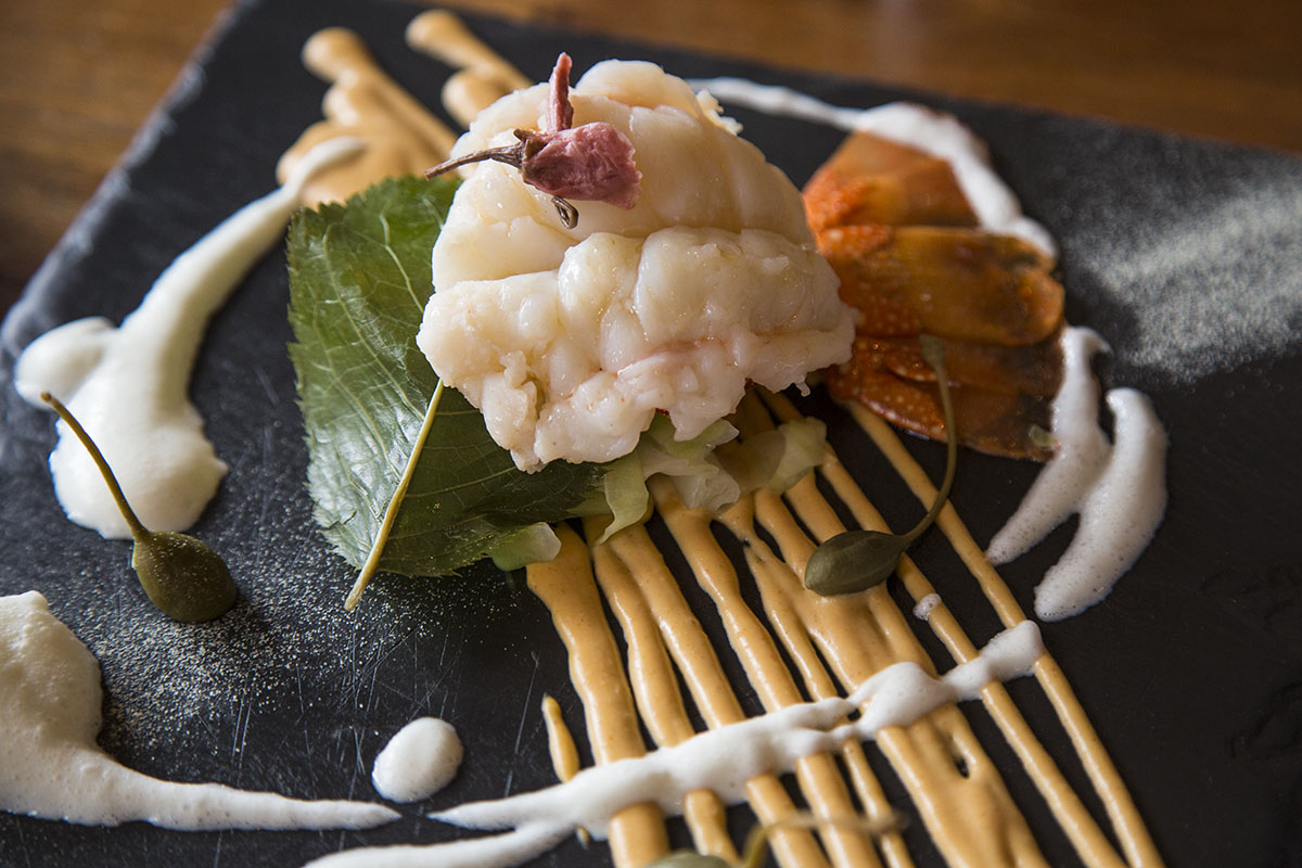 Steamed Lobstertail with pickled cherry blossoms