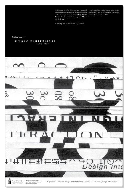 2008 DESIGN INTERACTION POSTER  Auburn University Department of Industrial + Graphic Design // design + collage